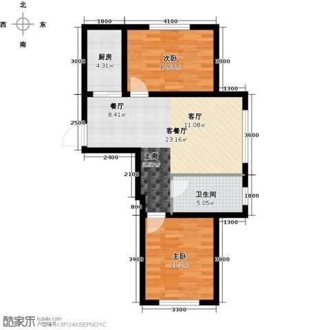 万福小筑2室1厅1卫1厨80.00㎡户型图