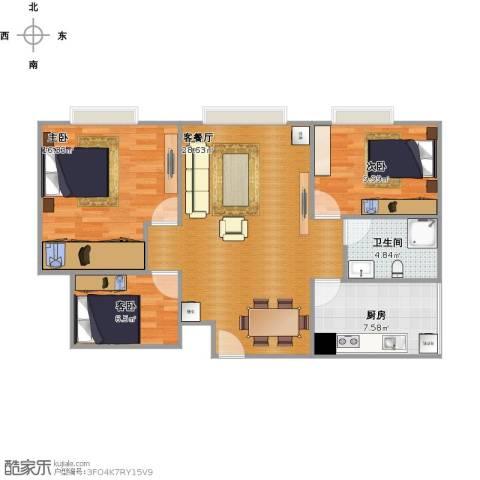 时代庐山3室1厅1卫1厨99.00㎡户型图