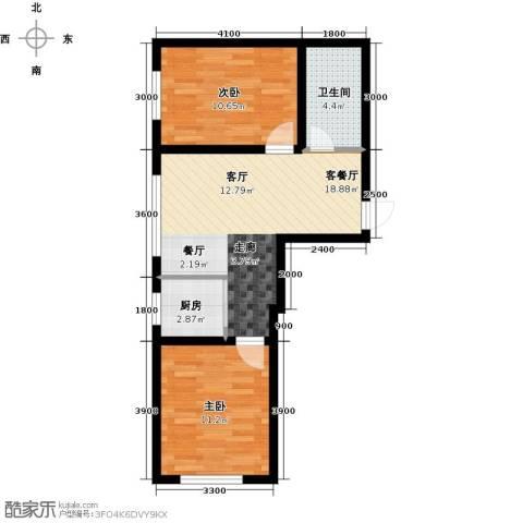 万福小筑2室1厅1卫1厨74.00㎡户型图