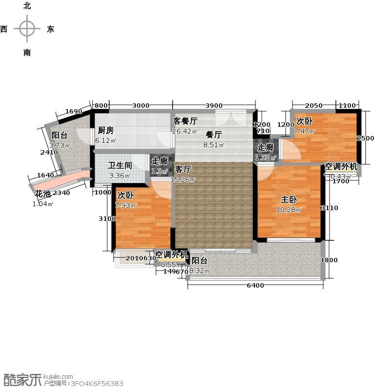中惠璧珑湾6、8号楼标准层户型3室1厅1卫1厨