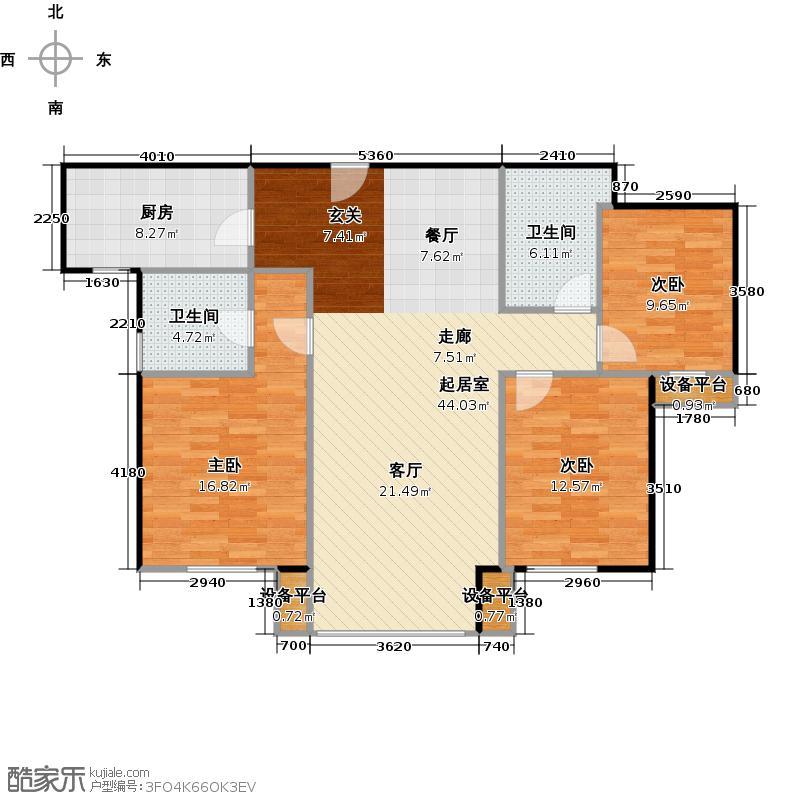 橡树湾137.00㎡J户型三室二厅二卫户型3室2厅2卫