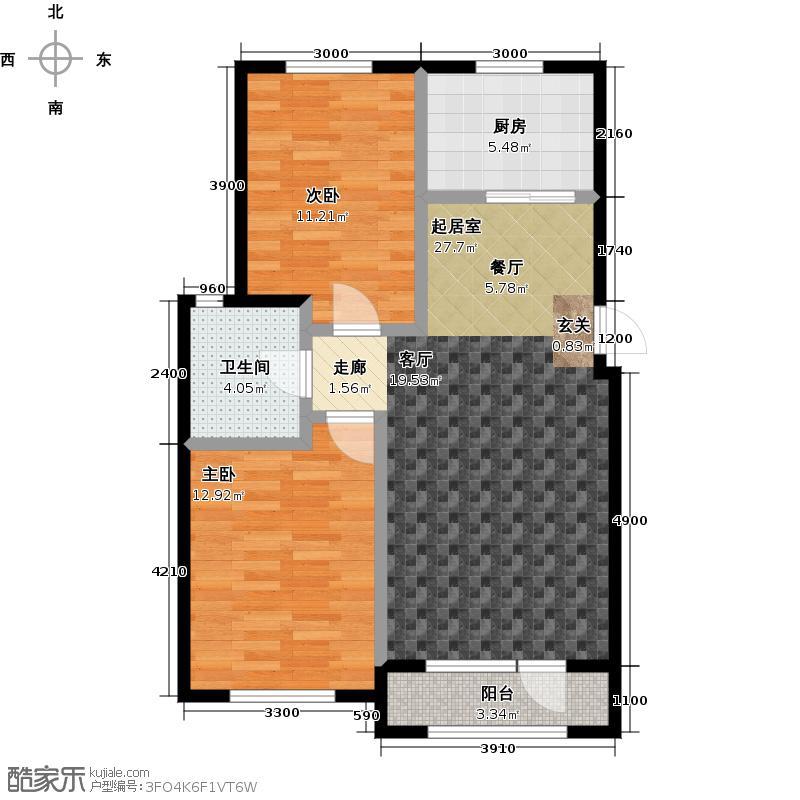 中拥塞纳城F户型两室两厅一卫,83.59-88.87平米户型