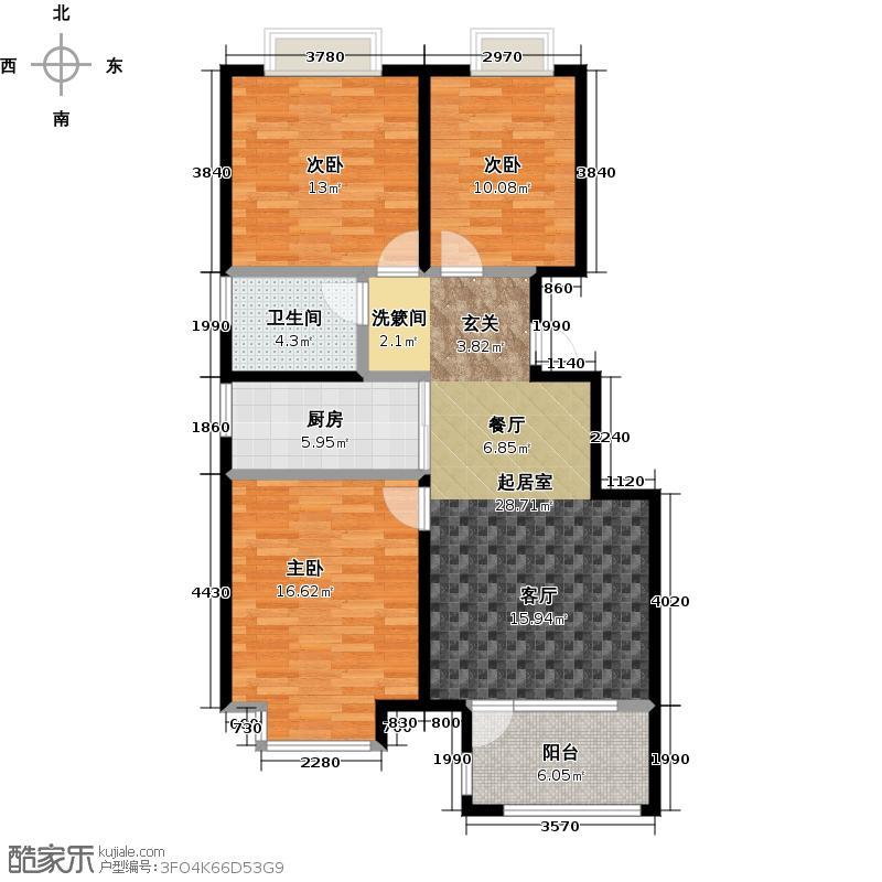 荣盛湖畔郦舍105.00㎡荣盛湖畔郦舍105.00㎡3室2厅1卫户型3室2厅1卫