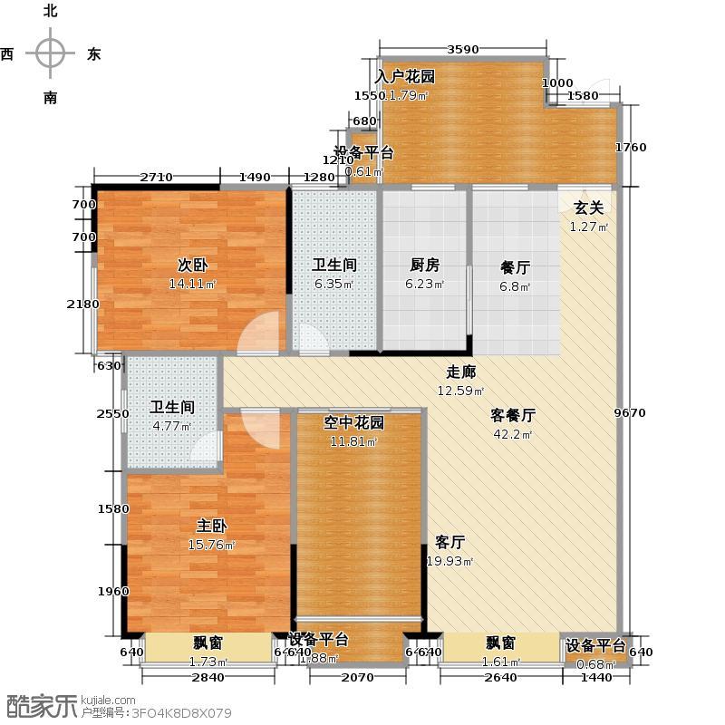 金地亚135.00㎡C2户型 二房二厅二卫户型2室2厅2卫