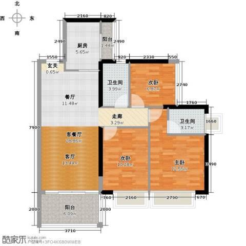 丹梓龙庭3室1厅2卫1厨88.00㎡户型图