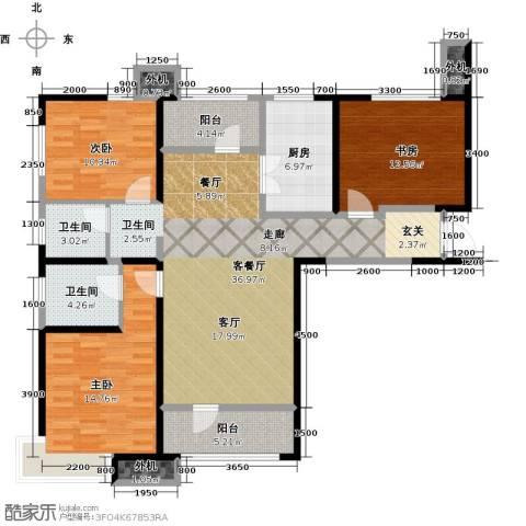 天津湾海景文苑3室1厅2卫1厨140.00㎡户型图