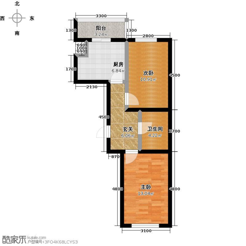 成涛绿锦国际65.38㎡小高层户型图户型2室1厅1卫