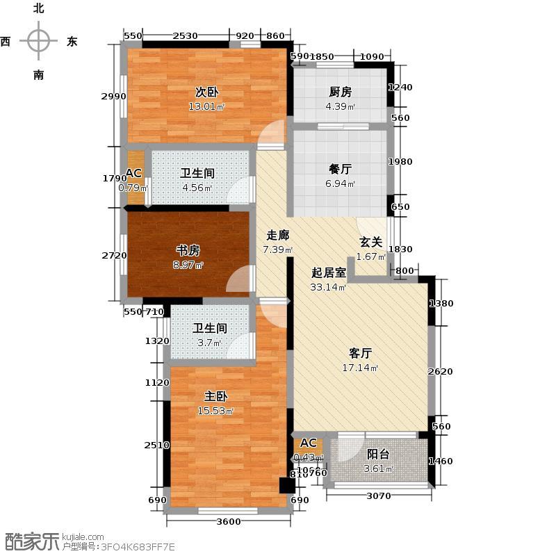中铁置业水映加州123.00㎡A户型三房二厅二卫户型