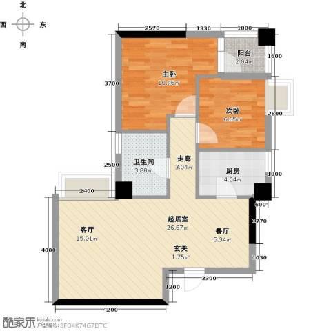熙城2室0厅1卫1厨77.00㎡户型图
