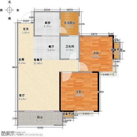 金地亚2室1厅1卫1厨84.00㎡户型图