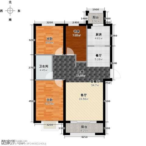 天旺名都3室1厅1卫1厨112.00㎡户型图