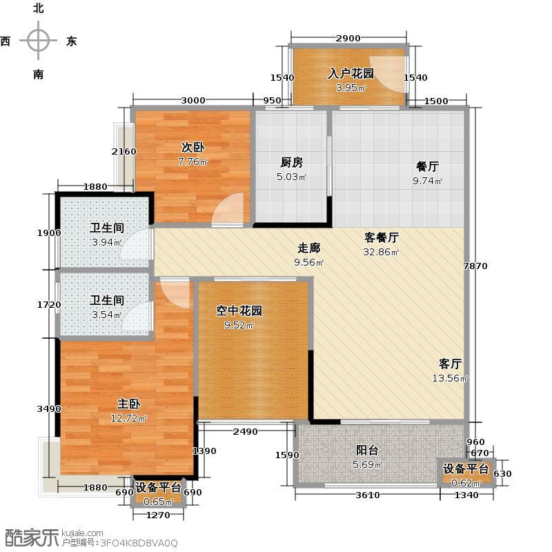 金地亚99.00㎡B2户型 二房二厅二卫户型2室2厅2卫