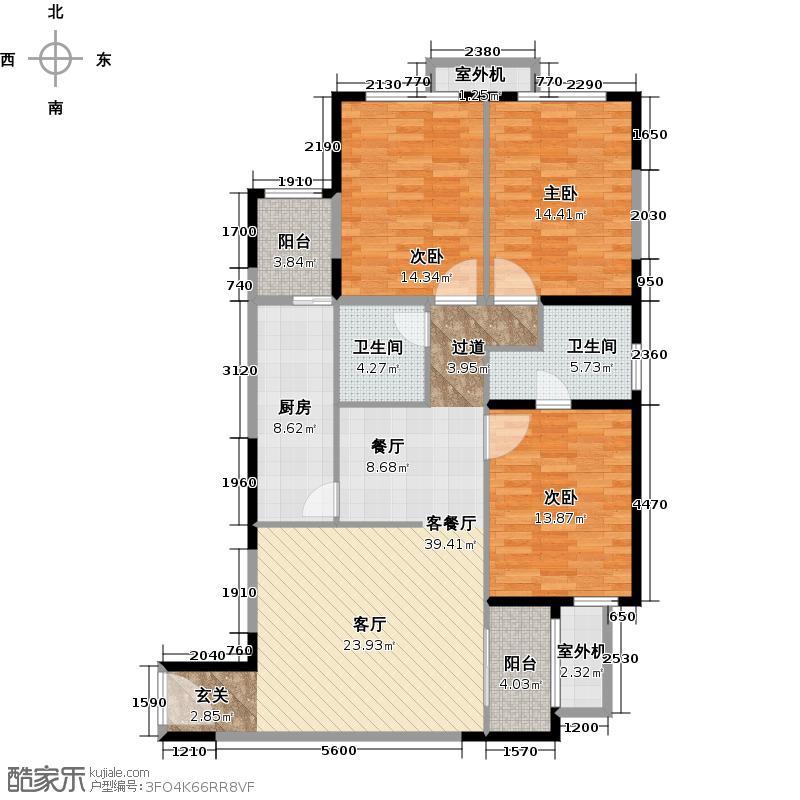 阳光100国际新城118.36㎡T6户型3室2厅1卫