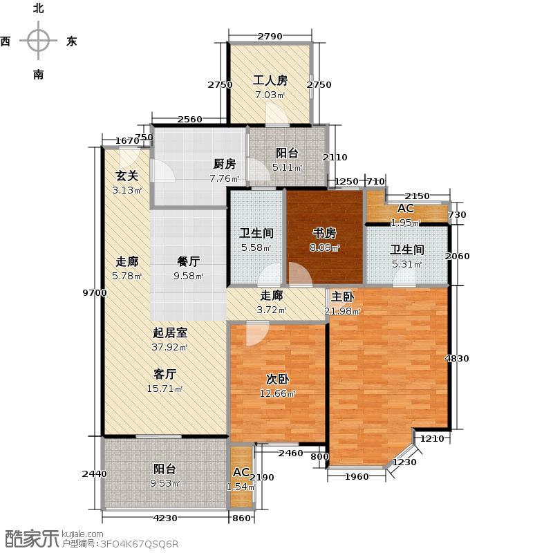 华南新城四居室户型3室2卫1厨