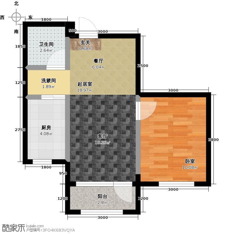 中拥塞纳城J户型一室两厅一卫,52.04-53.24平米户型