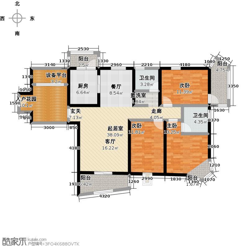 江南新天地E-T户型3室2卫1厨