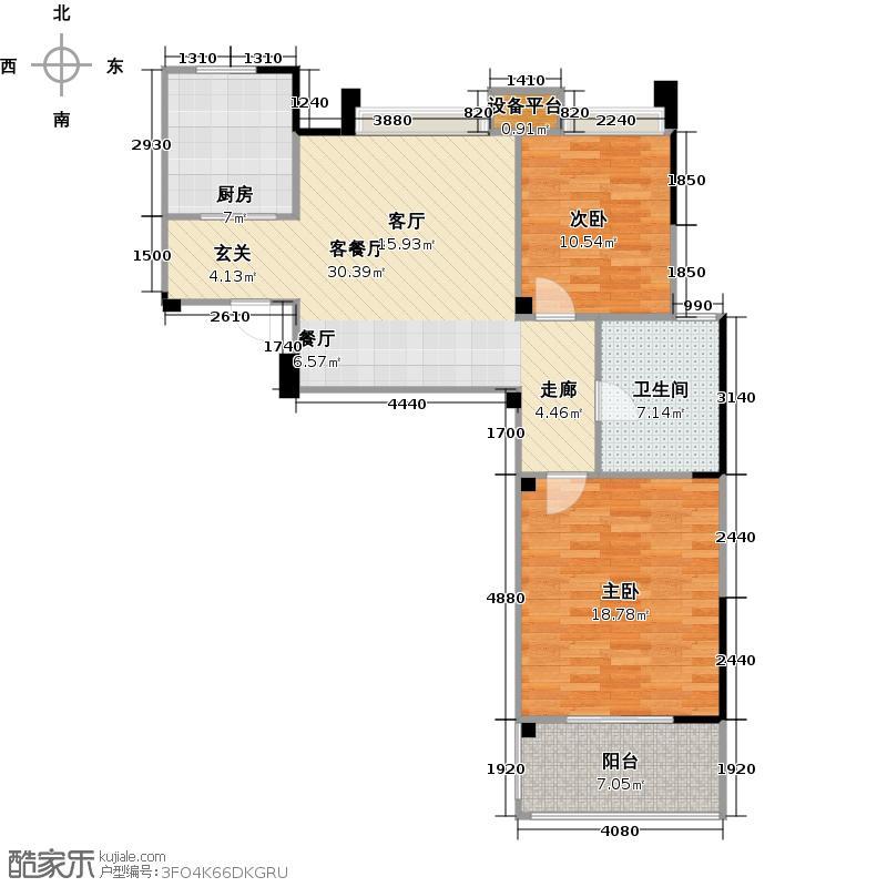长宏名郡88.36㎡F户型两室两厅一卫户型2室2厅1卫