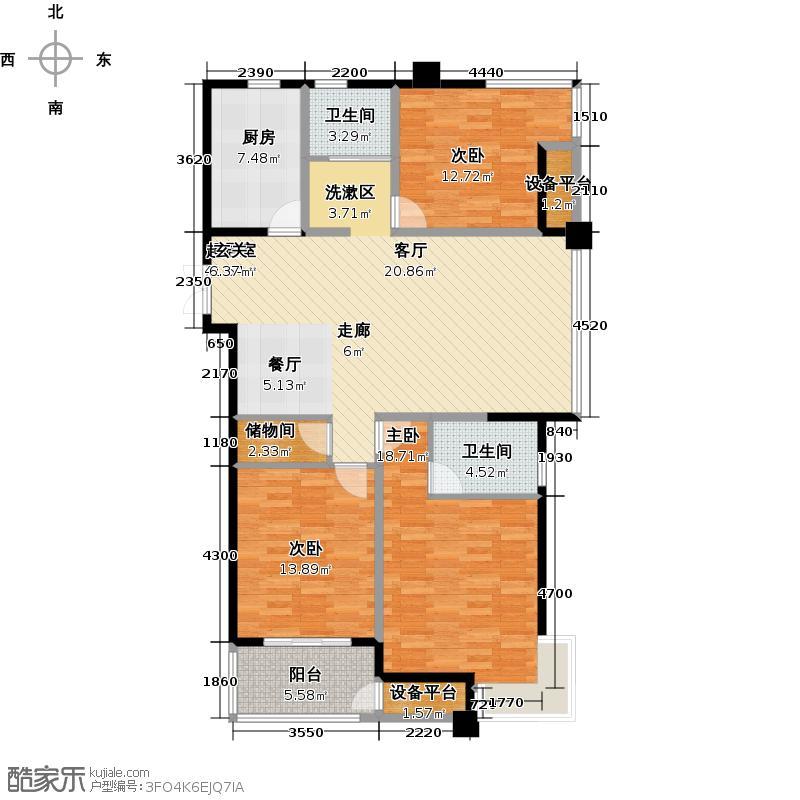国泰名都125.78㎡三房二厅二卫-125.78平方米-25套户型