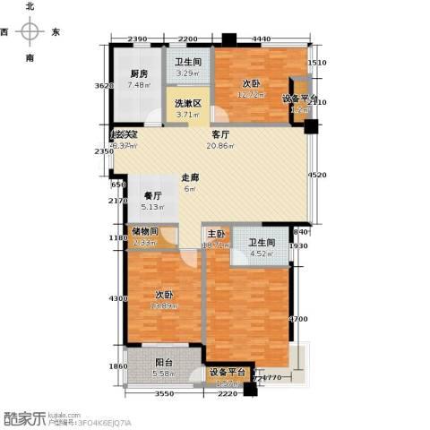 国泰名都3室0厅2卫1厨126.22㎡户型图