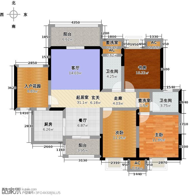 联投龙湾B2-T户型3室2卫1厨