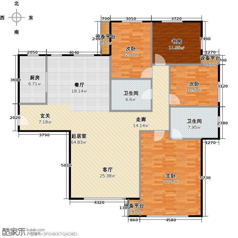 橡树湾190.00㎡K户型四室二厅二卫户型4室2厅2卫