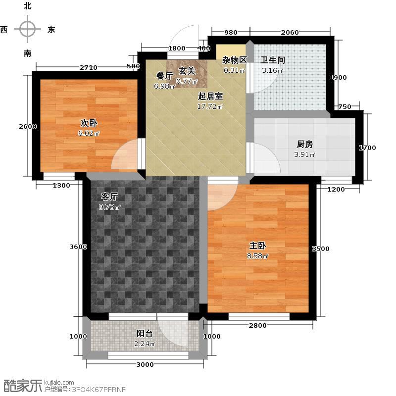 中拥塞纳城C户型两室两厅一卫,62.24-62.02平米户型
