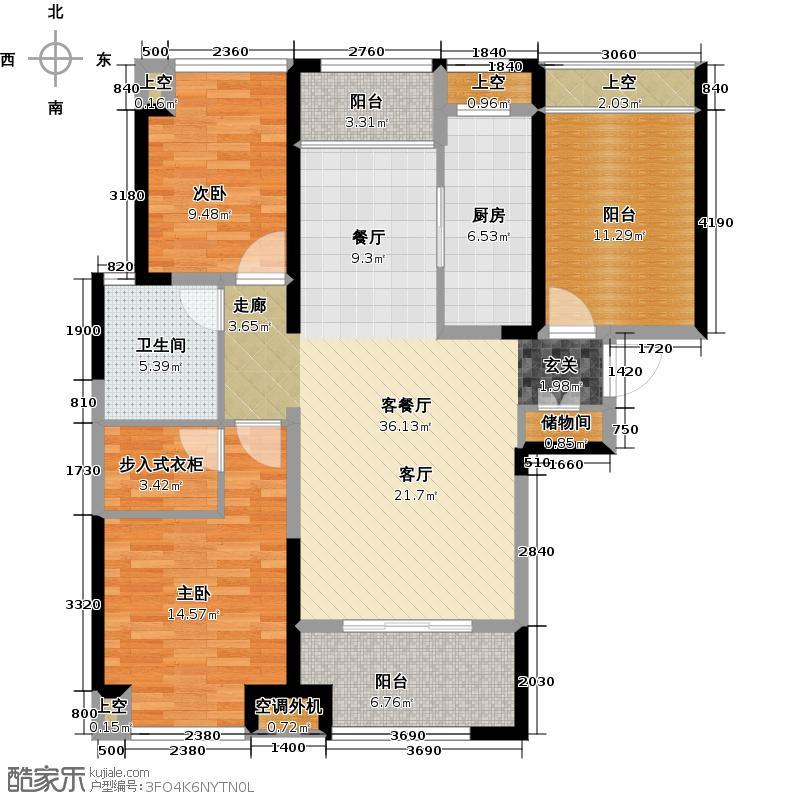 绿地太湖城117.00㎡C户型2室2厅1卫