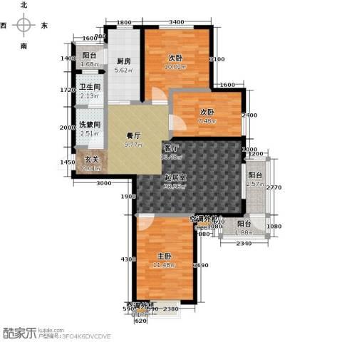 新兴北京郡3室0厅1卫1厨111.00㎡户型图