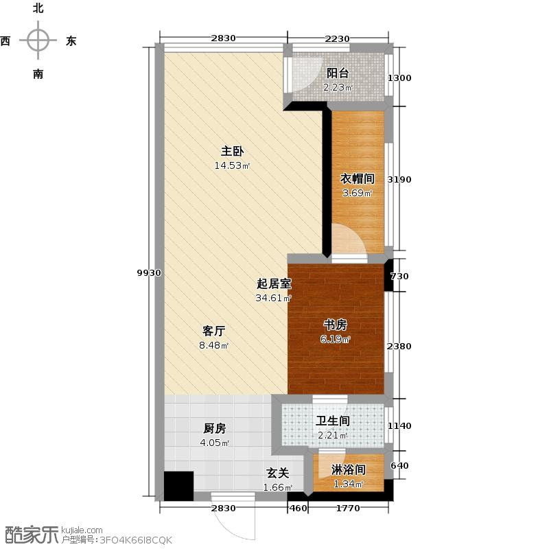 第一湾50.26㎡湾尚7栋32户型2室1厅1卫1厨户型2室1厅1卫