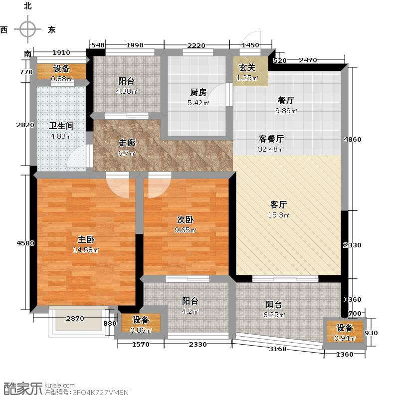 昆山颐景园99.00㎡7号楼99平米2+1房户型2室2厅1卫-副本