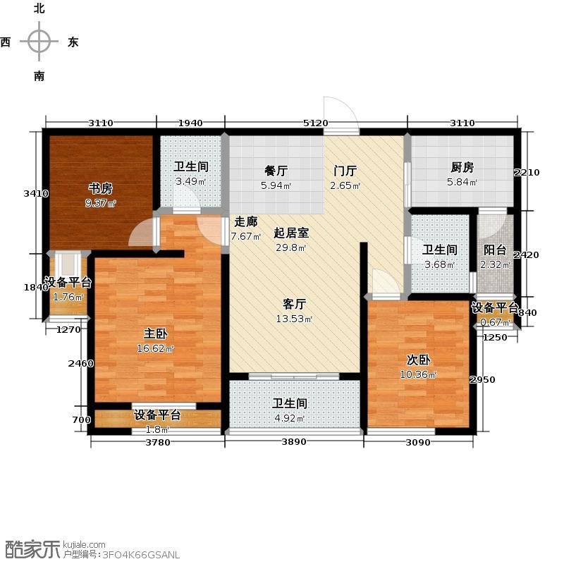 泰盈八千里104.00㎡三房二厅二卫-104平方米-34套户型