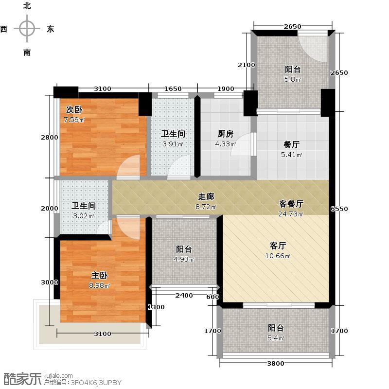 潜龙曼海宁(南区)3栋3-C3阳台户型2室1厅2卫1厨