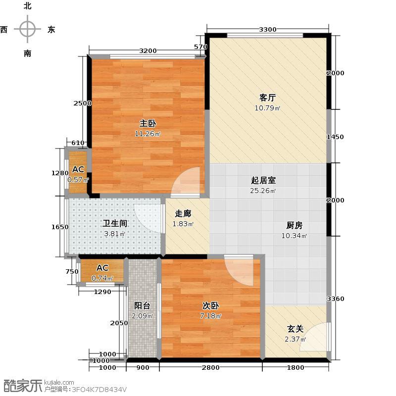 中铁子悦薹悦公馆四号楼 C户型 51.61-52.48平米户型2室1厅1卫