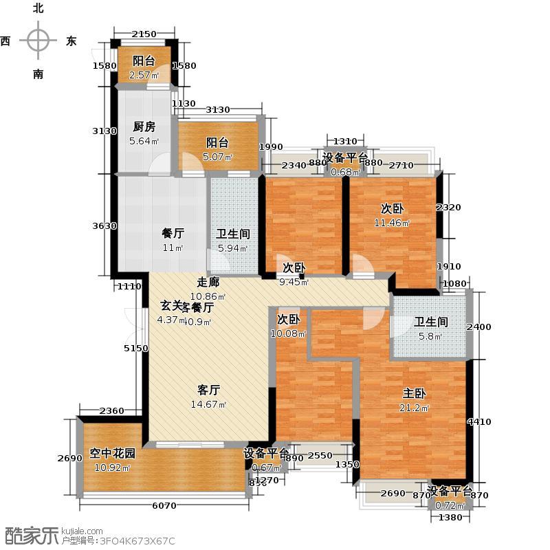 万博汇164.81㎡万博汇户型图8B户型四室两厅两卫三阳台(1/6张)户型4室2厅2卫