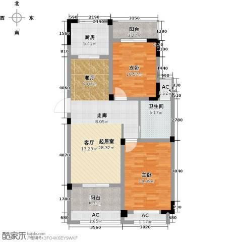 水晶城2室0厅1卫1厨88.55㎡户型图