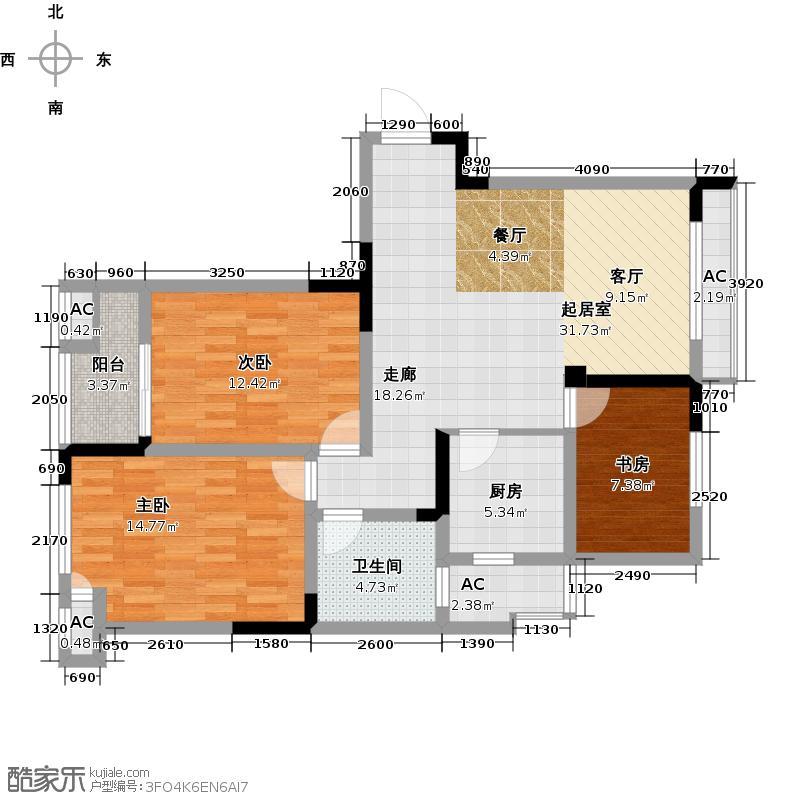 水晶城107.00㎡三房二厅一卫-107平方米-36套户型
