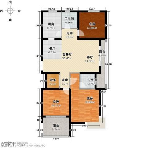 上书房3室1厅2卫1厨130.00㎡户型图