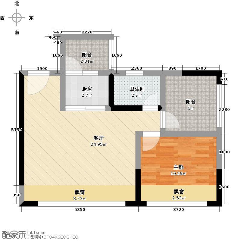 荣和山水绿城57.00㎡G2一房装修参考户型