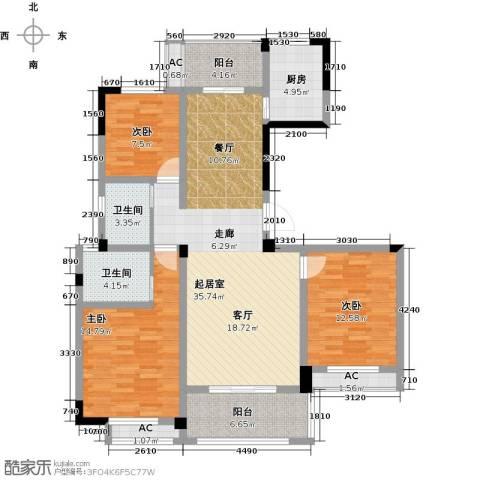 水晶城3室0厅2卫1厨113.35㎡户型图