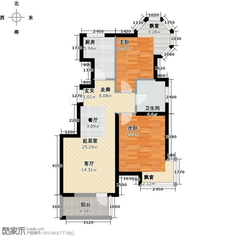 北京城建・琨廷A1户型2室1卫1厨