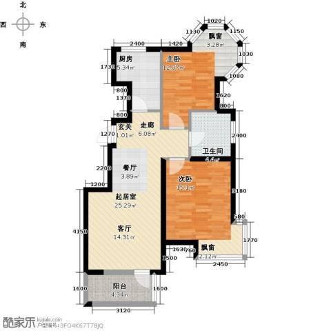 北京城建・琨廷2室0厅1卫1厨85.00㎡户型图