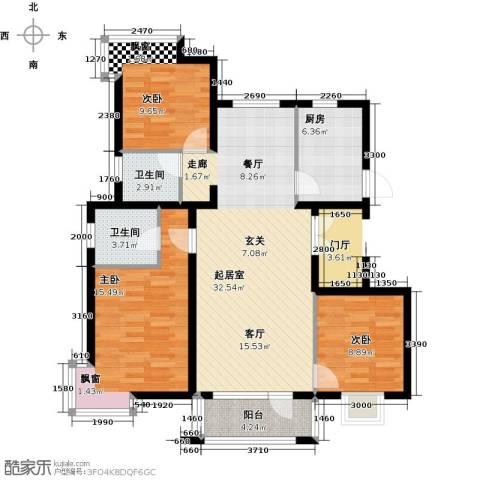 北京城建・琨廷3室0厅2卫1厨119.00㎡户型图