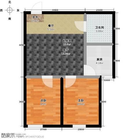 正泰园B区2室0厅1卫1厨66.00㎡户型图