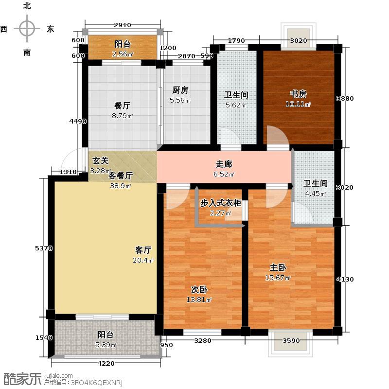 宏大香榭华都125.23㎡宏大香榭华都C1三室两厅一厨两卫125.23平米户型3室2厅2卫
