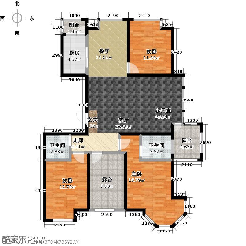荣盛湖畔郦舍户型3室2卫1厨
