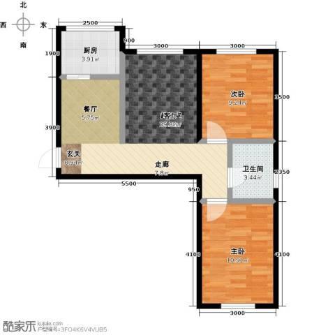 正泰园B区2室0厅1卫1厨79.00㎡户型图