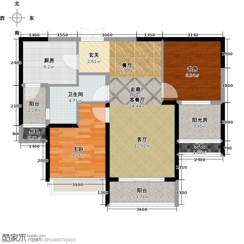阳光100国际新城阳光100五期户型 两室两厅一卫户型2室2厅1卫