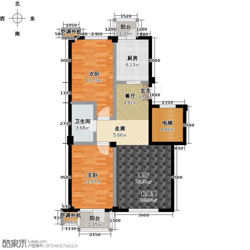 郁林海景花园104.00㎡C′户型87.45-104.81两室两厅户型2室2厅1卫