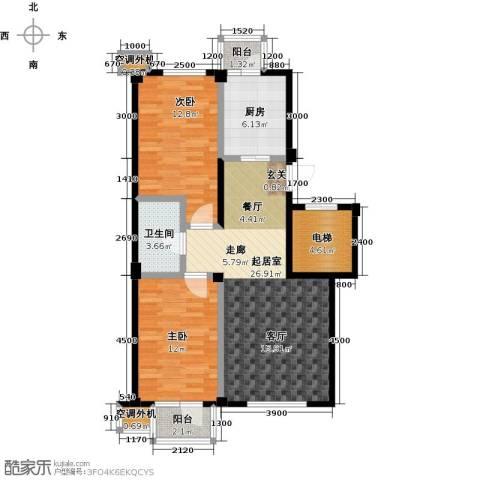 郁林海景花园2室0厅1卫1厨87.00㎡户型图