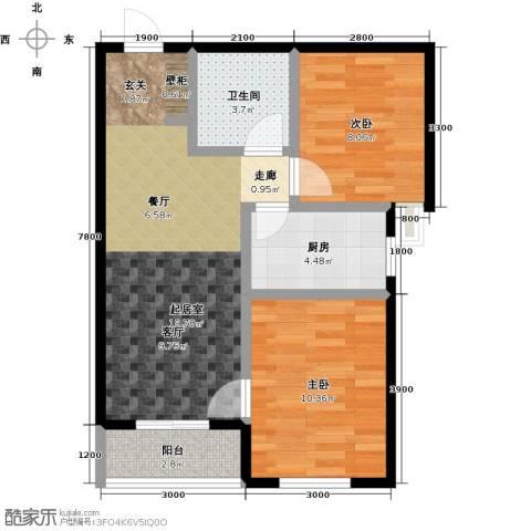 正泰园B区2室0厅1卫1厨75.00㎡户型图